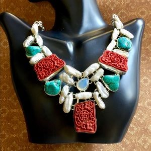 Astounding Cinnabar, Pearls, Turquoise Necklace